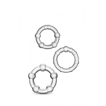 Conjunto 3 Anéis Pénis Beades Stay Hard Transparente