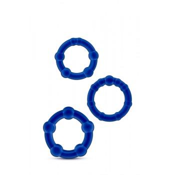 Conjunto 3 Anéis Pénis Beades Stay Hard Azul